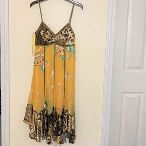 Cache Casual Dress-A-line.  Yellow Animal print